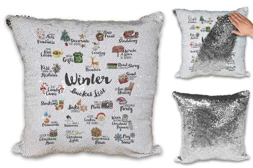 Winter Bucket List Festive Novelty Sequin Reveal Magic Cushion Cover